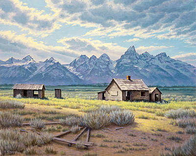 Teton Painting - Pfeiffer Homestead-tetons by Paul Krapf