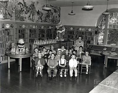Photograph - Pacific Grove Library With Nina Post. Circa 1955 by California Views Archives Mr Pat Hathaway Archives