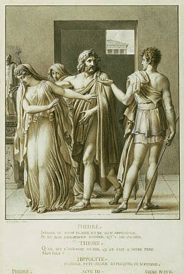 Wash Drawing - Phaedra Rejecting The Embraces Of Theseus Anne-louis by Litz Collection