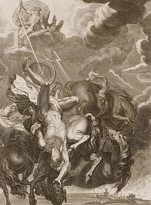 Zeus Drawing - Phaeton Struck Down By Jupiter's Thunderbolt by Bernard Picart
