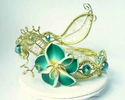 Wire Wrap Bracelet Jewelry - Phantasy Garden - Green Blossom by Elvira Ward