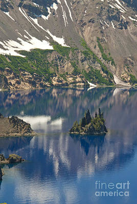 Photograph - Phantom Island Ship In Crater Lake by Ellen Thane