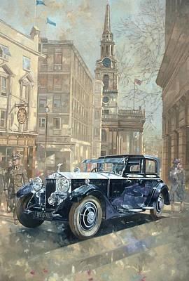 British Classic Cars Painting - Phantom Near Trafalgar Square  by Peter Miller