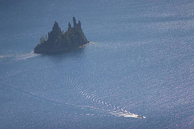 Crater Lake National Park Photograph - Phantom Ship In Crater Lake In Crater by Phil Schermeister