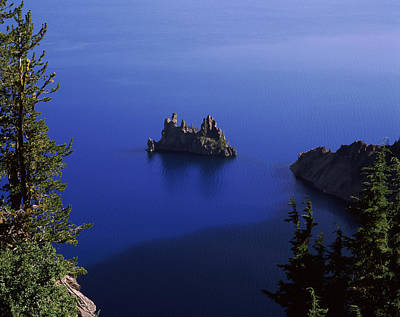 Crater Lake View Photograph - Phantom Ship Island Viewed From Sun by Panoramic Images