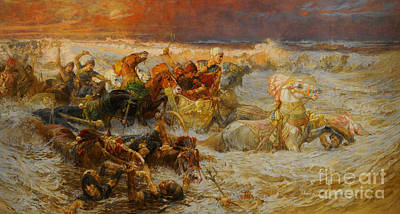 Religious Painting - Pharaoh And His Army Engulfed By The Red Sea by Celestial Images
