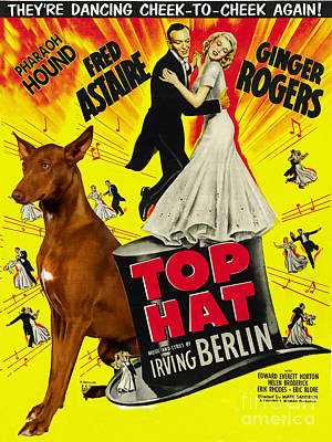 Painting - Pharaoh Hound Art Canvas Print - Top Hat Movie Poster by Sandra Sij