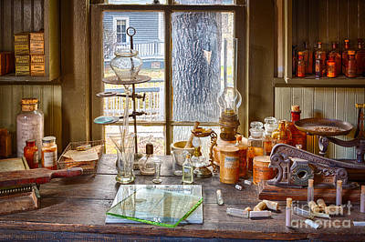Counter Photograph - Pharmacist Desk by Inge Johnsson