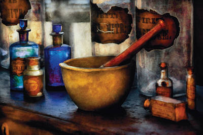 Medicine Bottles Photograph - Pharmacist - Mortar And Pestle by Mike Savad