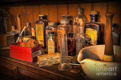 Photograph - Pharmacist -  Mortar And Pestle With Apothecary Bottles IIi by Lee Dos Santos