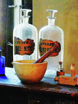 Pharmacist - Mortar And Pestle With Bottles Art Print
