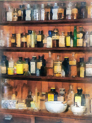 Pharmacist - Mortar Pestles And Medicine Bottles Art Print by Susan Savad