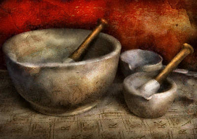 Mortar Photograph - Pharmacist - Pestle And Son  by Mike Savad