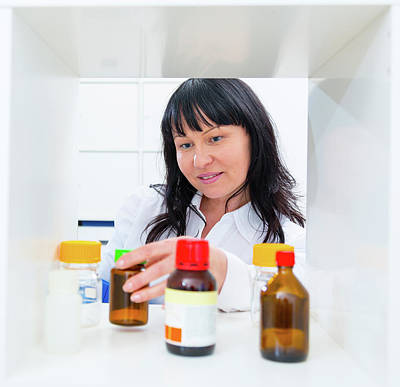 Pharmacist Taking A Bottle From A Shelf Print by Wladimir Bulgar