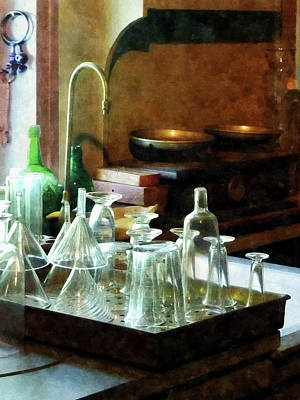 Pharmacy - Glass Funnels And Bottles Art Print
