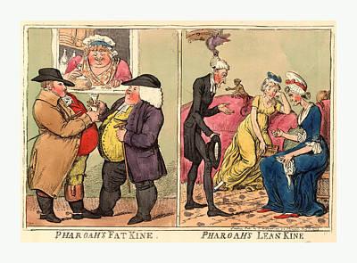 Pharoahs Fat Kine, Pharoahs Lean Kine, Cruikshank, Isaac Art Print by Egyptian School