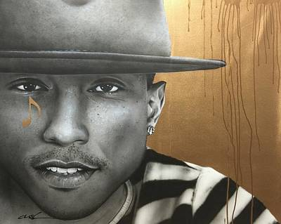 Pharrell Williams - ' Pharrell In Gold ' Art Print by Christian Chapman Art