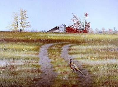 Egg Tempera Painting - Pheasant Country. by Conrad Mieschke