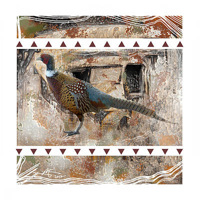 Pheasant Digital Art - Pheasant Design by Bob Salo