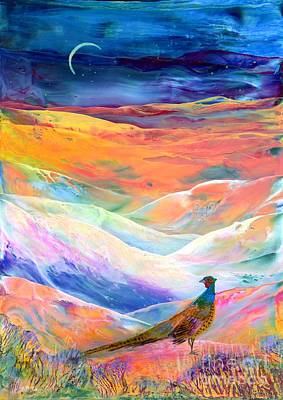 Snowy Night Painting - Pheasant Moon by Jane Small