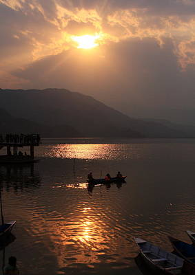 Photograph - Phewa Lake Sunset - Nepal  by Aidan Moran