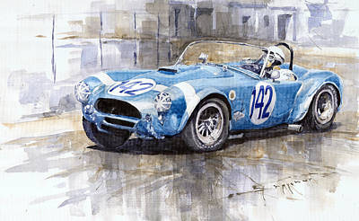 Cobra Painting - Phil Hill Ac Cobra-ford Targa Florio 1964 by Yuriy Shevchuk