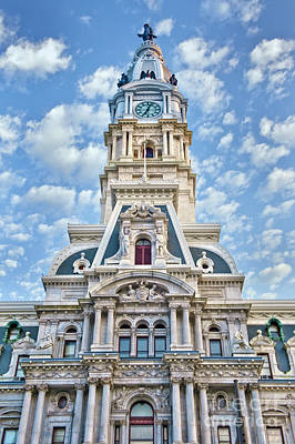 Photograph - Phila City Hall Clock Tower  by David Zanzinger