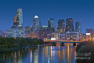 Photograph - Phila Pa Night Skyline Reflections Center City Schuylkill River by David Zanzinger