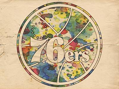 Sixers Digital Art - Philadelphia 76ers Retro Poster by Florian Rodarte