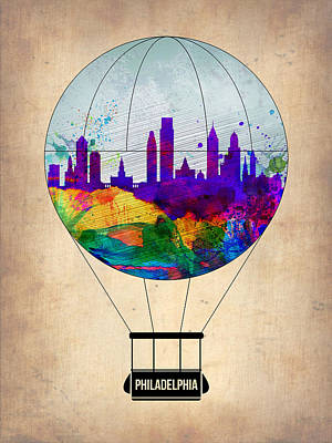 Philadelphia Painting - Philadelphia Air Balloon by Naxart Studio