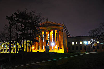 Philadelphia Art Museum  At Night From The Rear Art Print by Bill Cannon