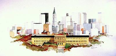 Painting - Philadelphia Art Museum Skyline by William Renzulli