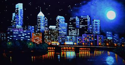 Philadelphia Skyline Painting - Philadelphia Black Light by Thomas Kolendra