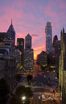 Philadelphia City Center At Sunset Art Print by Perry Van Munster