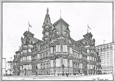 Drawing - Philadelphia City Hall 1911 by Ira Shander