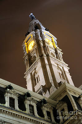 Philadelphia City Hall Clock Tower At Night Art Print
