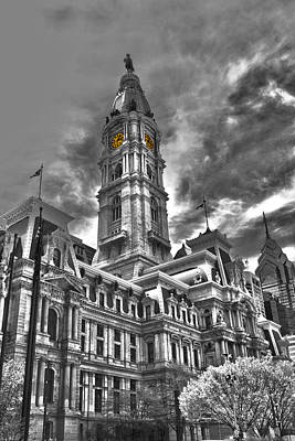 Photograph - Philadelphia City Hall - Hdr/bw by Lou Ford