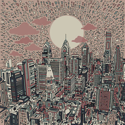 Philadelphia Skyline Digital Art - Philadelphia Dream 3 by Bekim Art