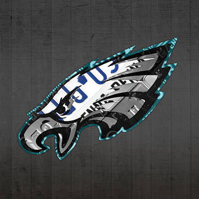 Eagle Mixed Media - Philadelphia Eagles Football Team Retro Logo Pennsylvania License Plate Art by Design Turnpike