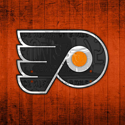 Hockey Mixed Media - Philadelphia Flyers Hockey Team Retro Logo Vintage Recycled Pennsylvania License Plate Art by Design Turnpike
