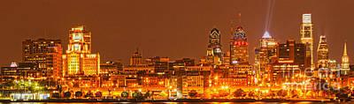 Photograph - Philadelphia Lights Up The Sky by Adam Jewell