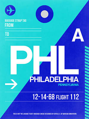 Philadelphia Mixed Media - Philadelphia Luggage Poster 1 by Naxart Studio