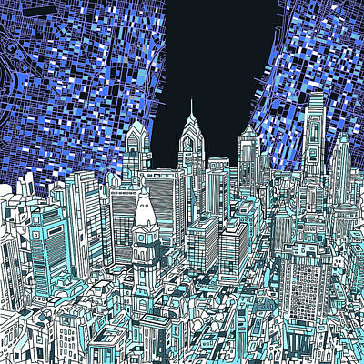 Philadelphia Skyline Digital Art - Philadelphia Map Panorama by Bekim Art