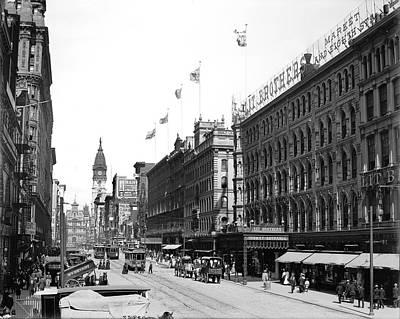 Streetcar Digital Art - Philadelphia Market Street 1900 by Bill Cannon