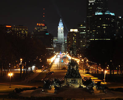 Benjamin Franklin Parkway Digital Art - Philadelphia Nighttime by Bill Cannon