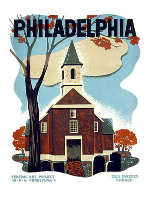 Old Church Painting - Philadelphia Old Swedes Church by Pablo Romero