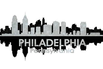 Abstract Skyline Mixed Media - Philadelphia PA 4 by Angelina Tamez