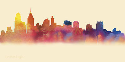 Digital Art - Philadelphia Pa Skyline II by Loretta Luglio