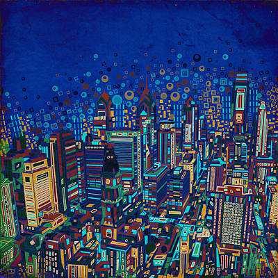 Philadelphia Painting - Philadelphia Panorama Pop Art 2 by Bekim Art