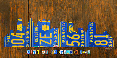 Phillies Mixed Media - Philadelphia Pennsylvania City Of Brotherly Love Skyline License Plate Art by Design Turnpike